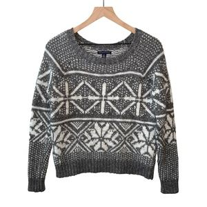 American Eagle Snowflake Knit Wool Blend Crewneck Sweater Gray White Small